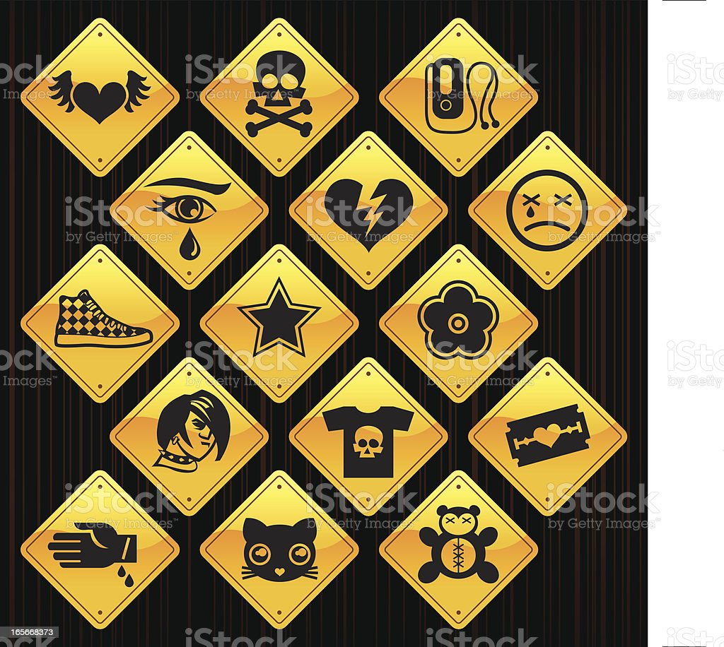 Yellow Signs - Emo vector art illustration