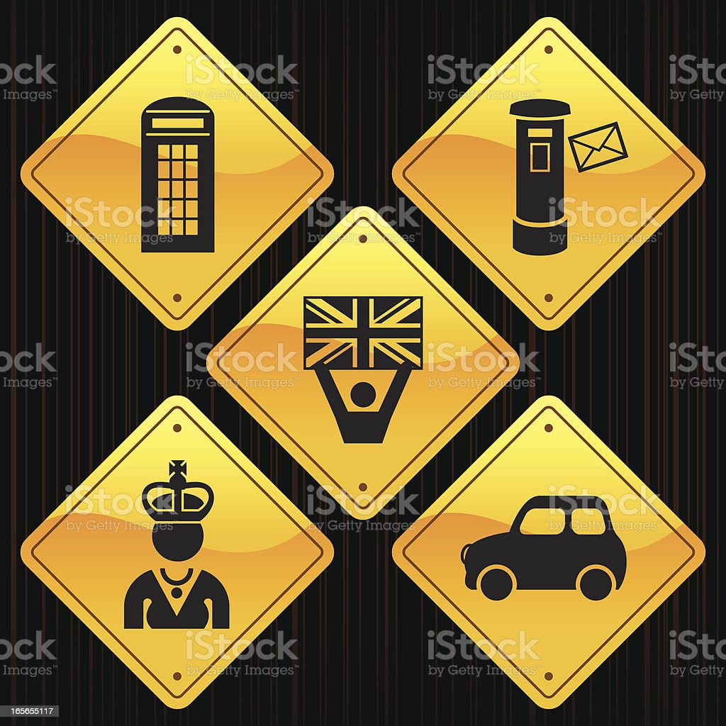Yellow Signs - England royalty-free stock vector art