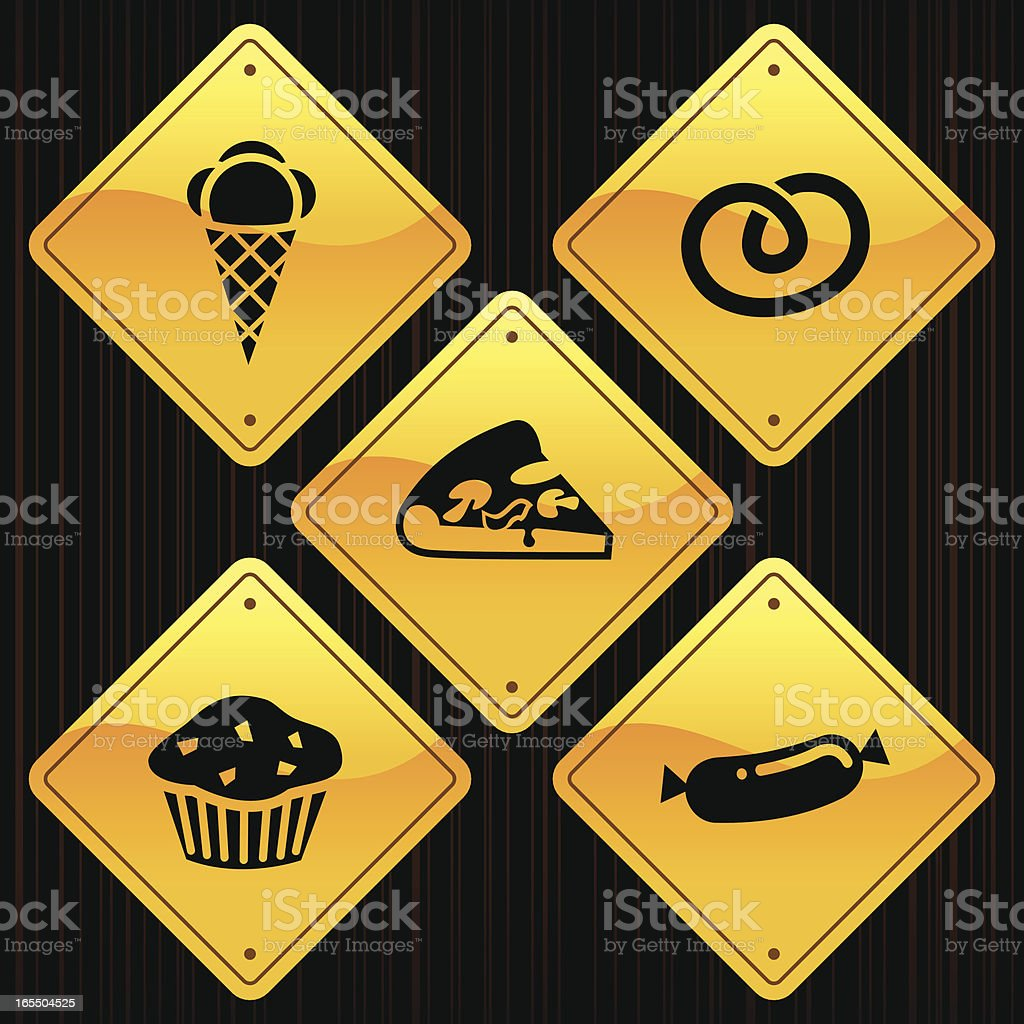 Yellow Signs - Food royalty-free stock vector art