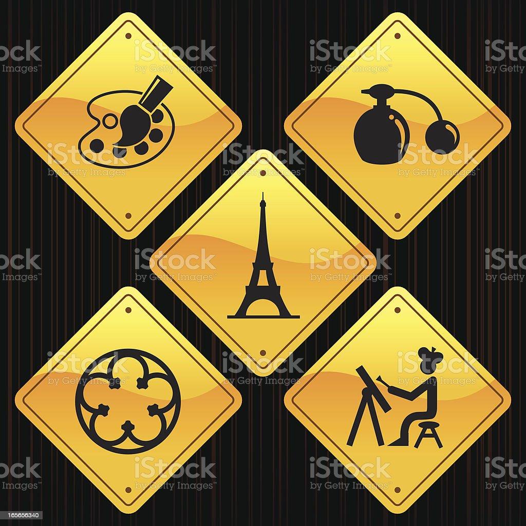 Yellow Signs - France & Paris royalty-free stock vector art