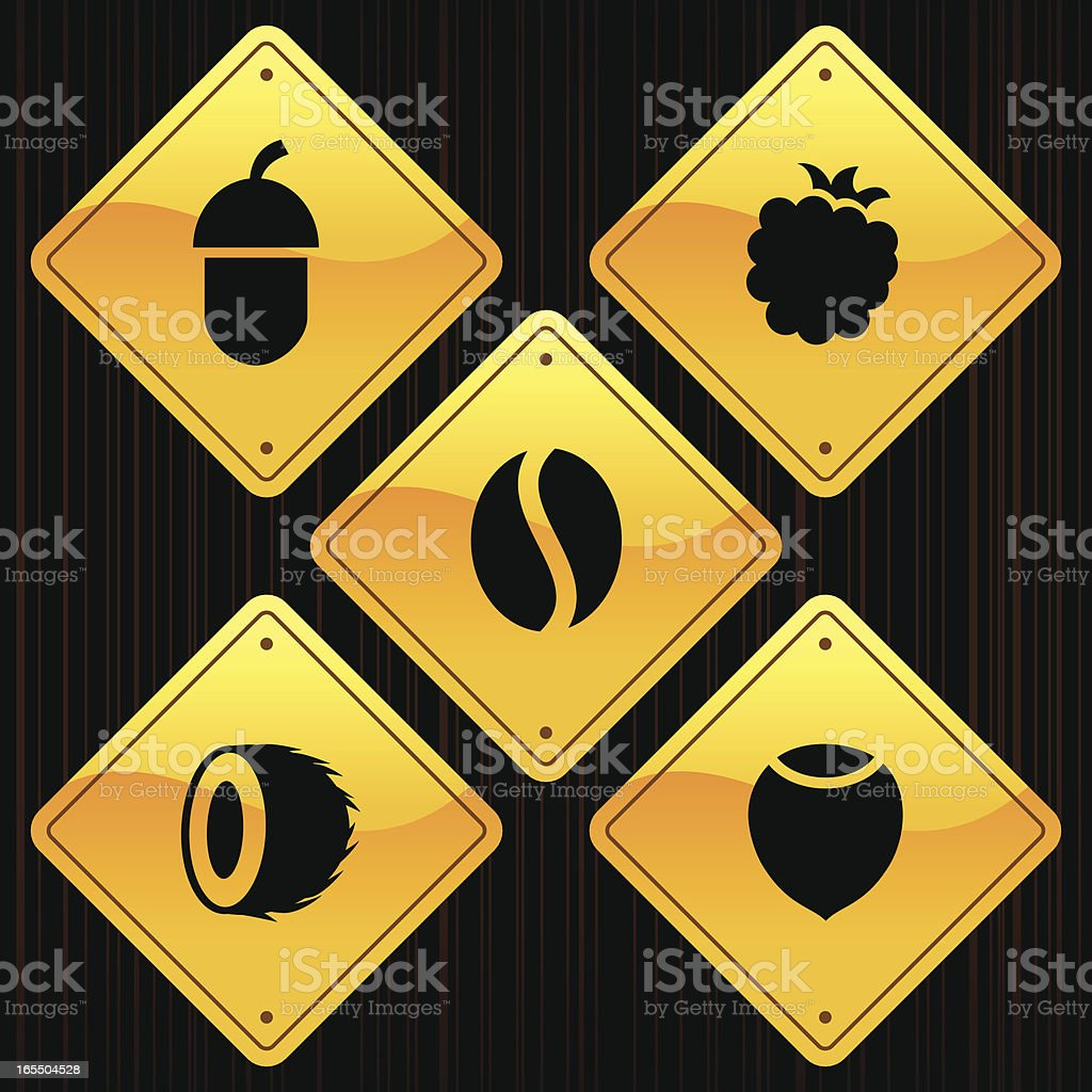 Yellow Signs - Fruits royalty-free stock vector art