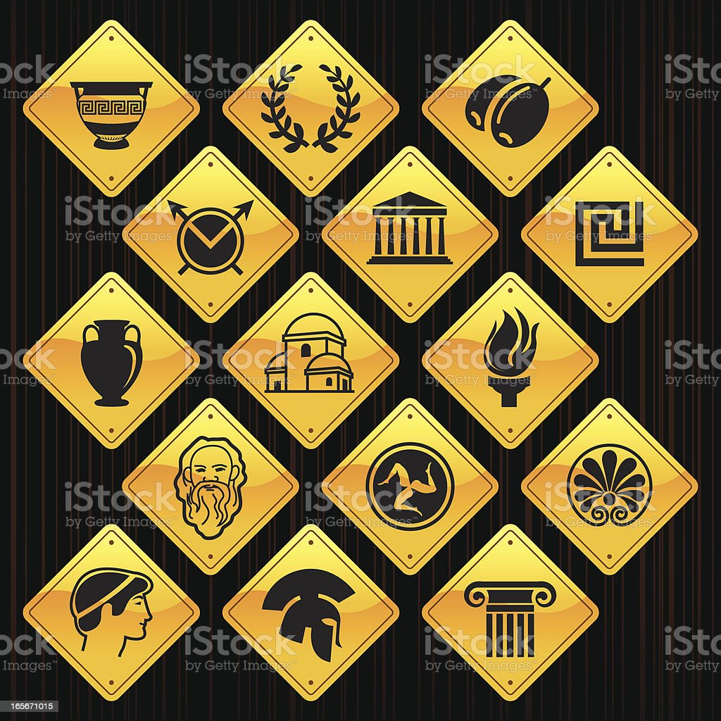 Yellow Signs - Greece royalty-free stock vector art