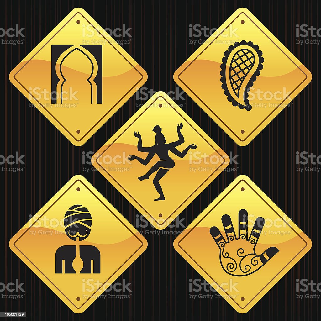 Yellow Signs - India royalty-free stock vector art