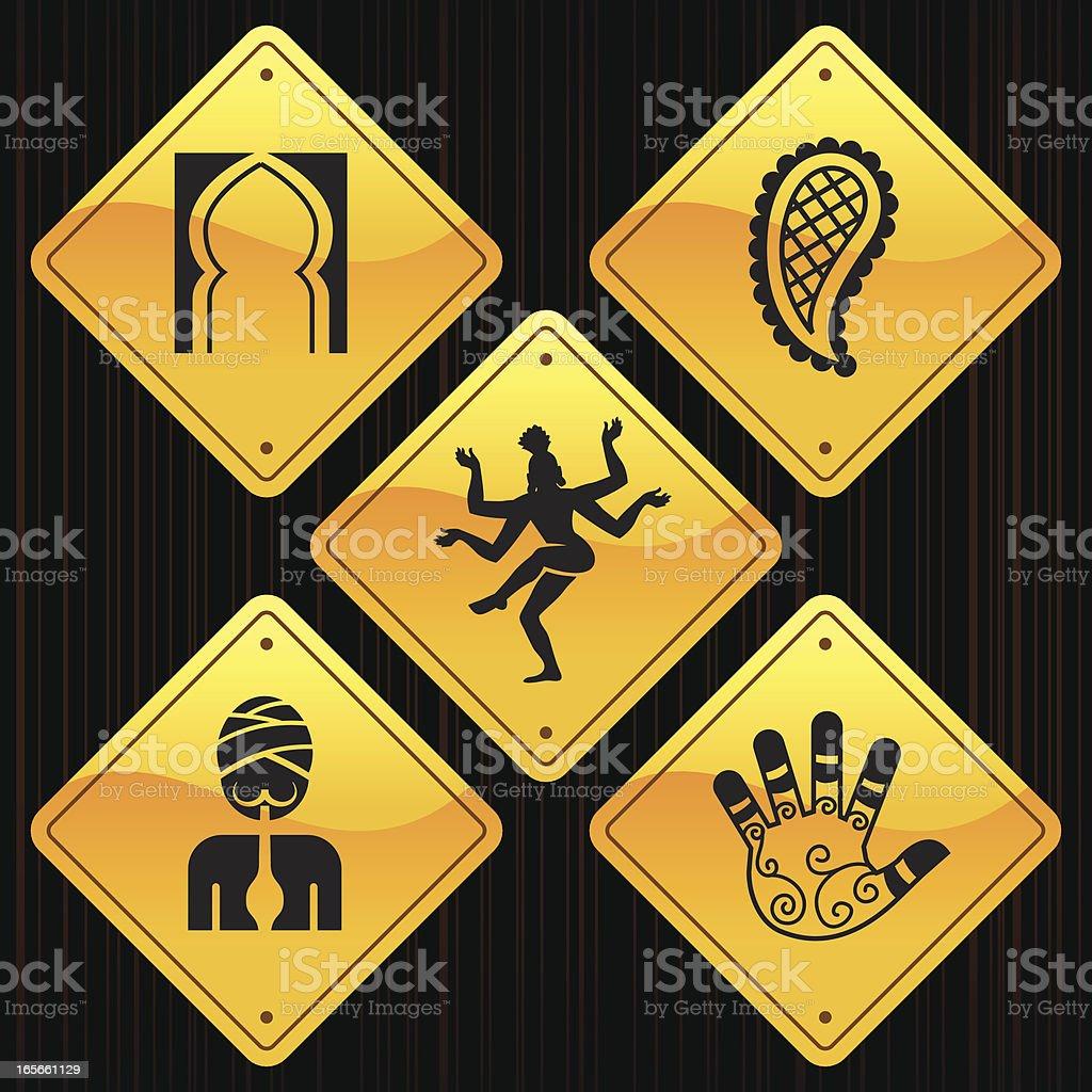 Yellow Signs - India vector art illustration