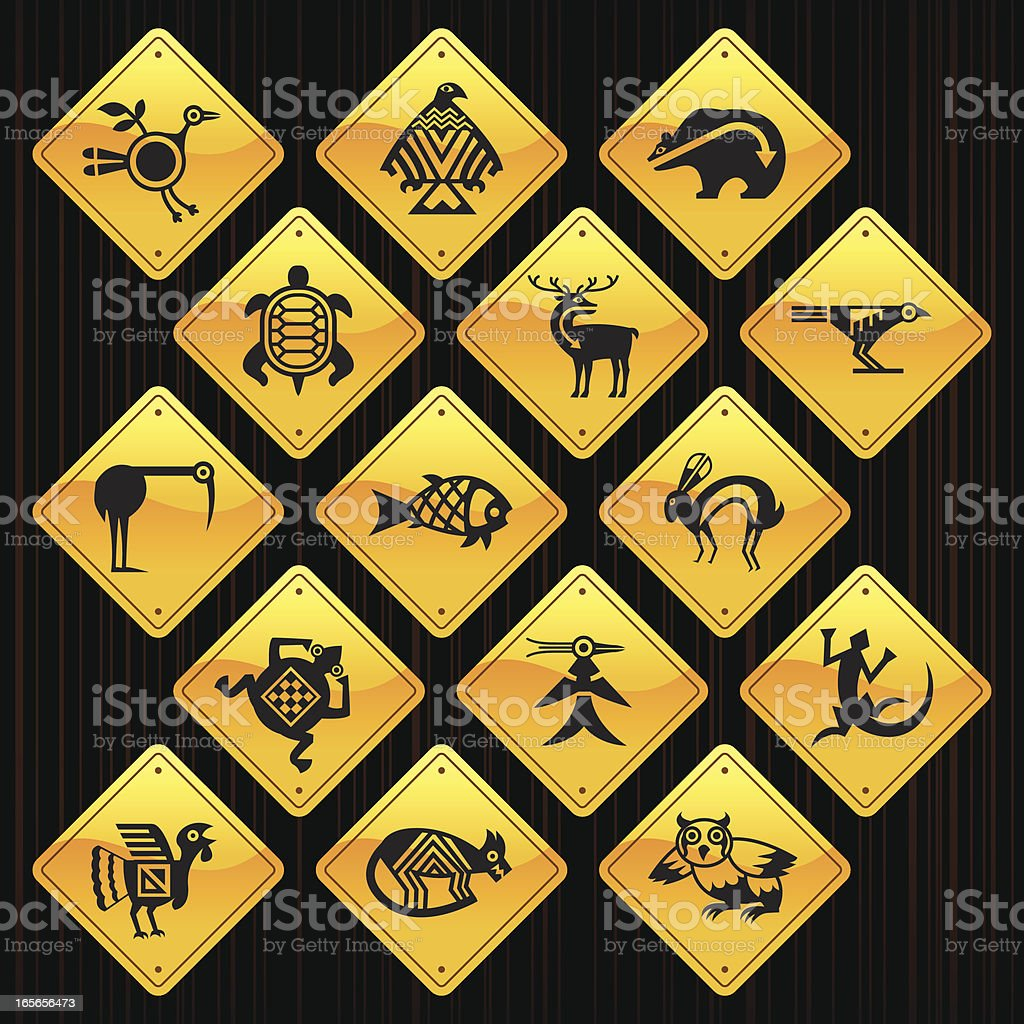 Yellow Signs - Indian Tribal Animals royalty-free stock vector art