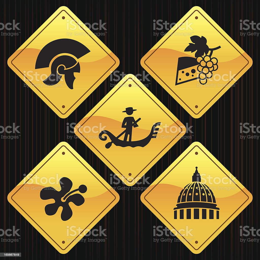 Yellow Signs - Italy royalty-free stock vector art
