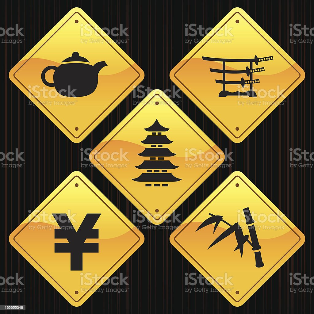 Yellow Signs - Japan royalty-free stock vector art