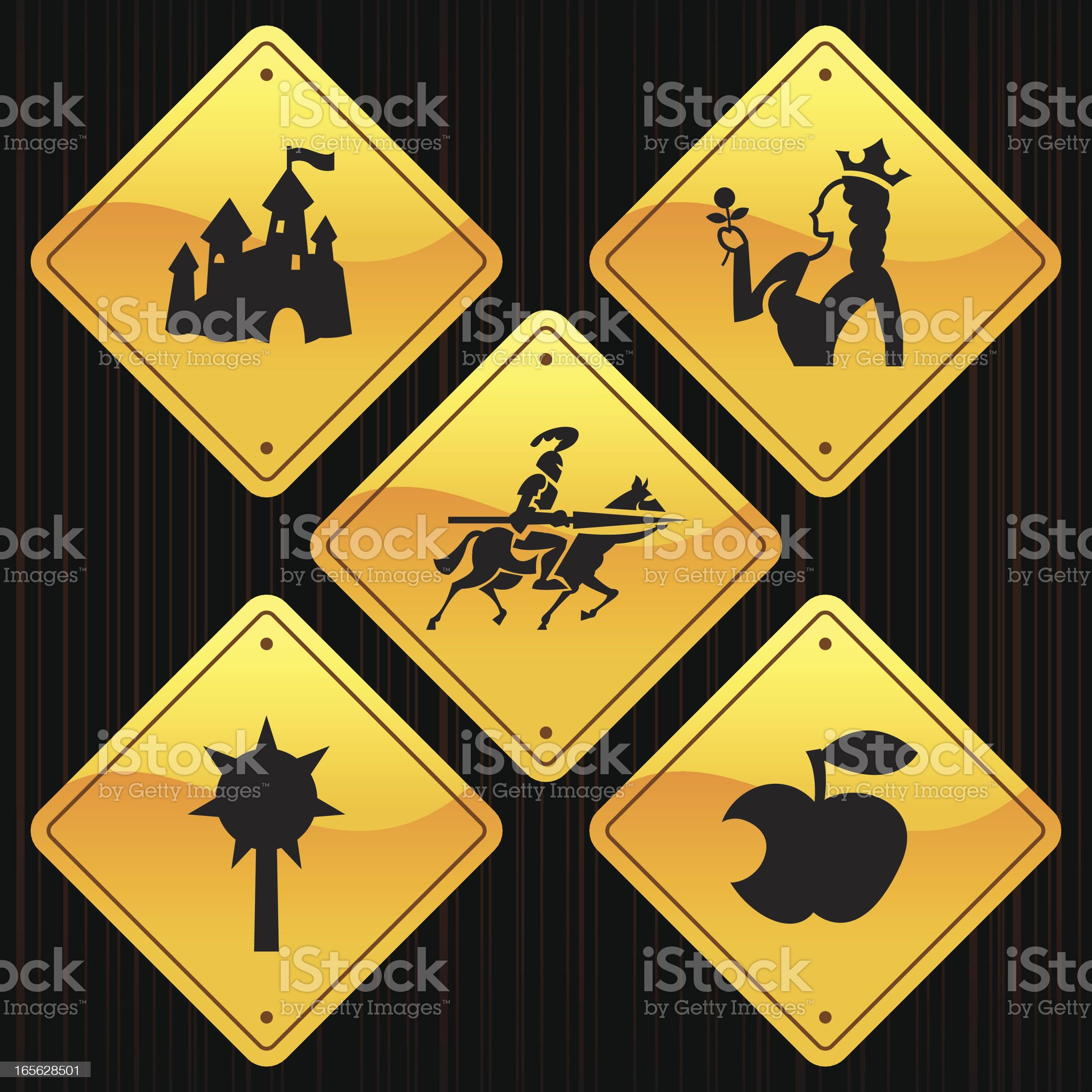 Yellow Signs - Medieval Fairytale royalty-free stock vector art
