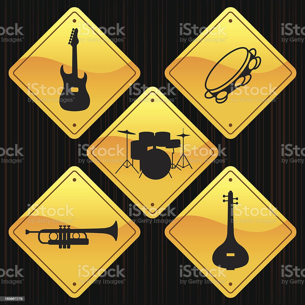 Yellow Signs - Musical Instruments royalty-free stock vector art