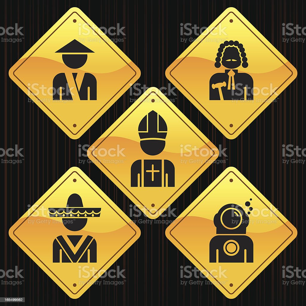 Yellow Signs - Professions vector art illustration