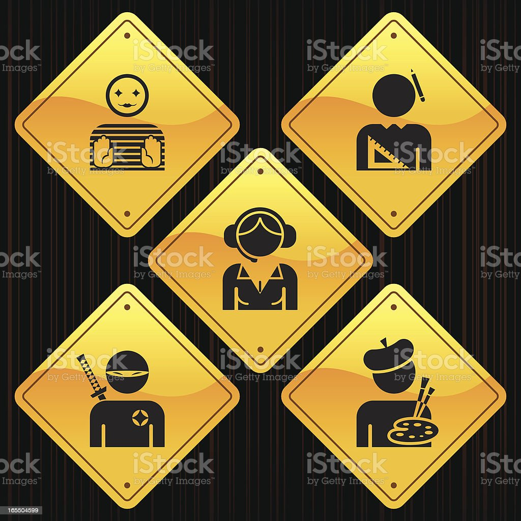 Yellow Signs - Professions vector art illustration