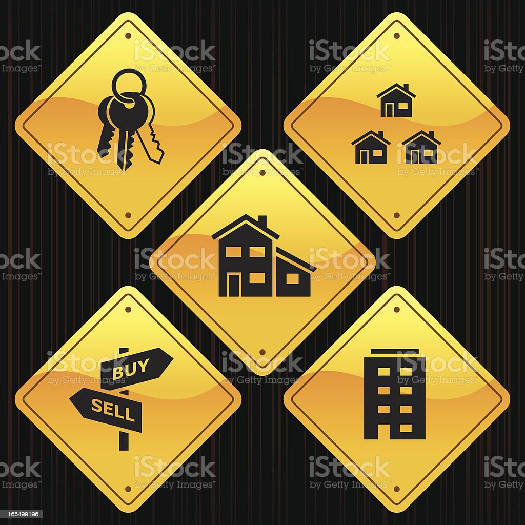 Yellow Signs - Real Estate royalty-free stock vector art
