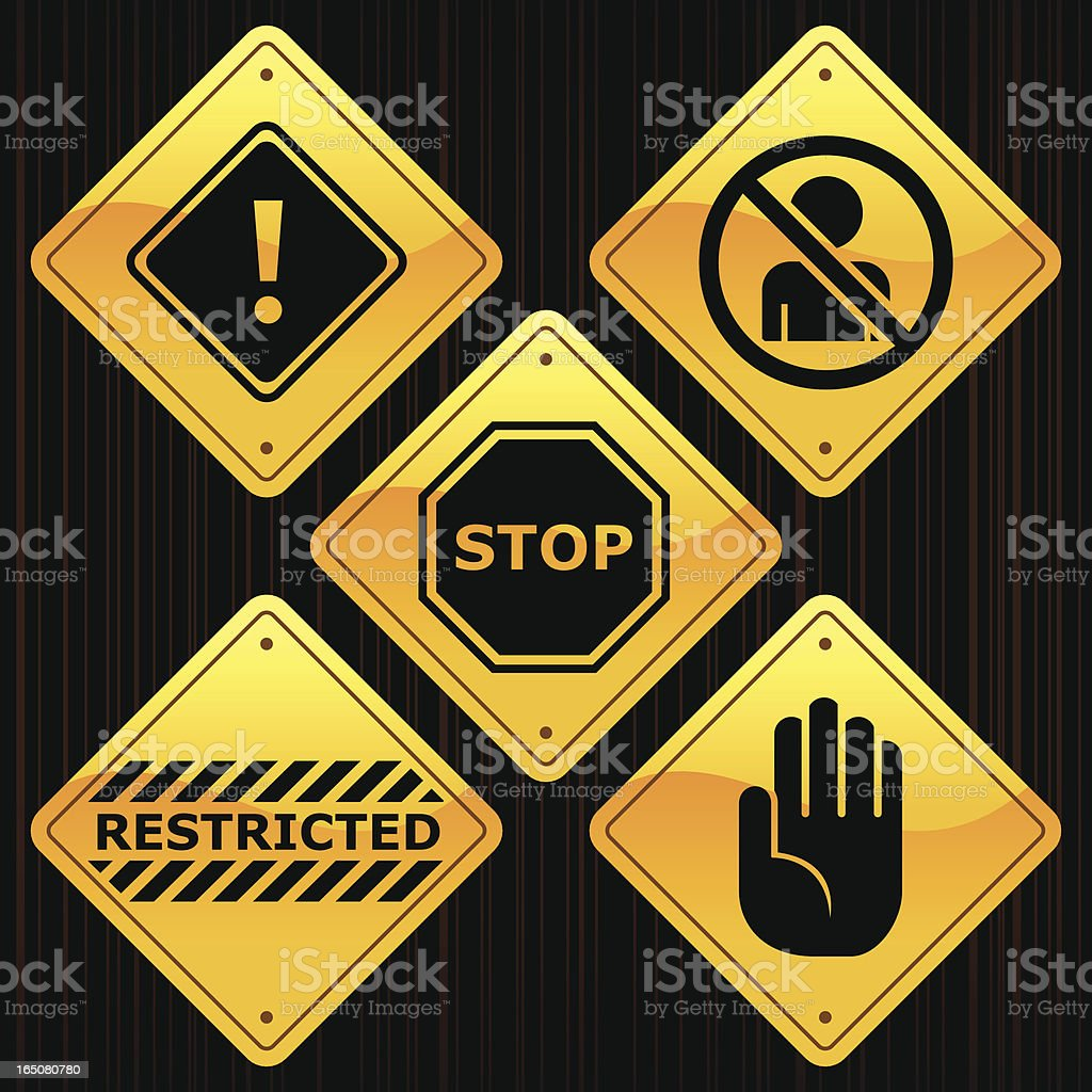 Yellow Signs - Restricted royalty-free stock vector art