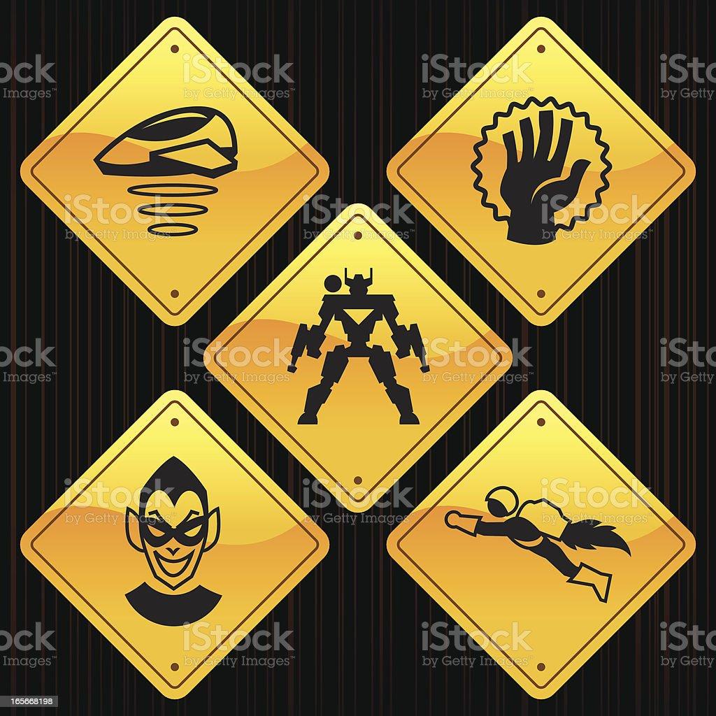 Yellow Signs - Superhero vector art illustration