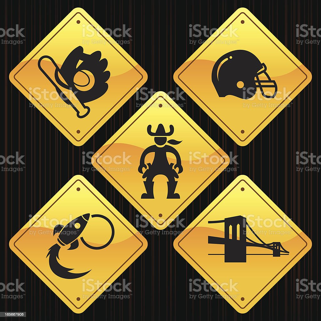 Yellow Signs - USA royalty-free stock vector art