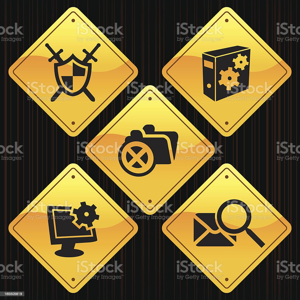Yellow Signs - Web Security royalty-free stock vector art