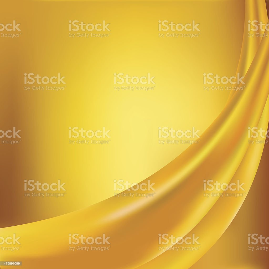 Yellow silk background with some soft folds royalty-free stock vector art