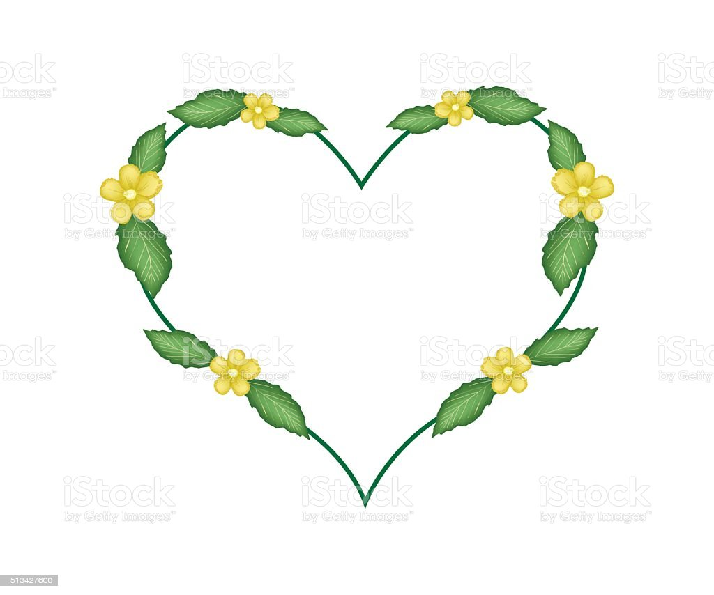 Yellow Simpor Flowers in A Heart Shape vector art illustration