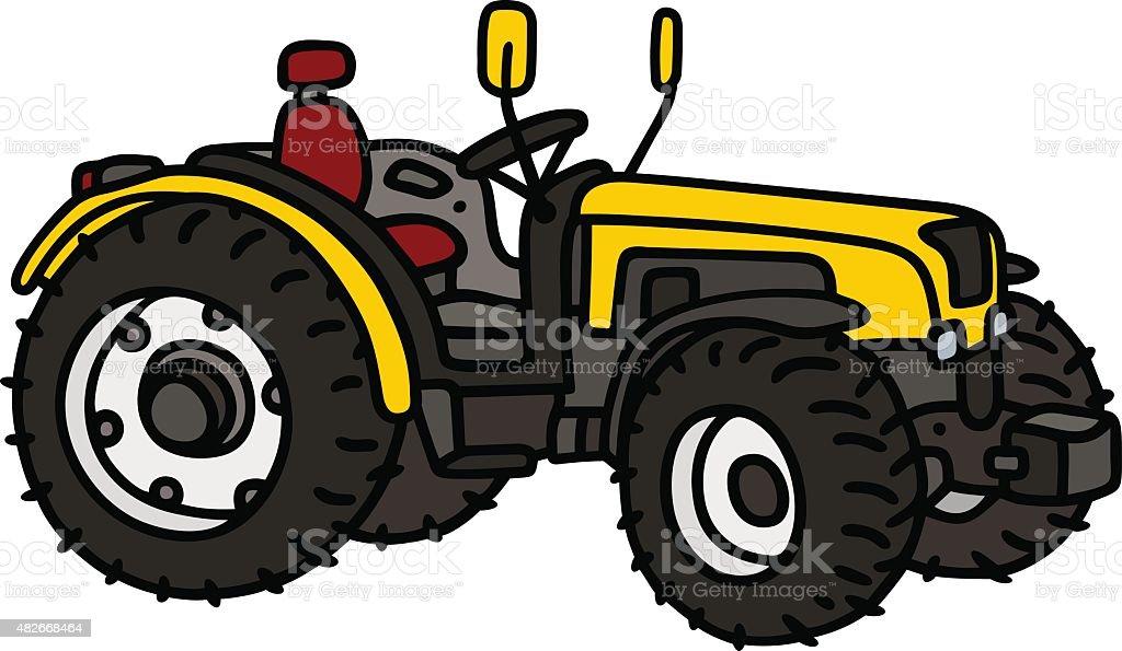 Yellow small tractor vector art illustration