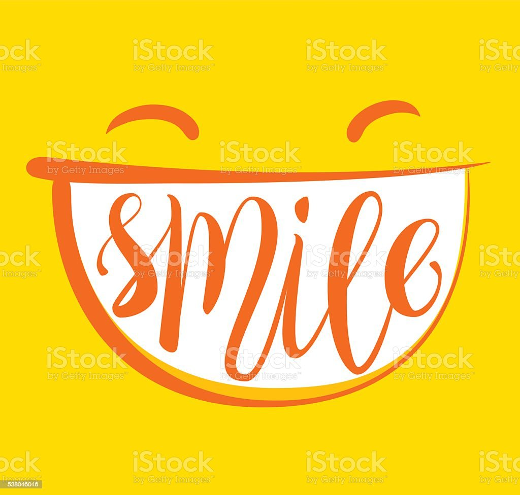 Yellow smile poster. vector art illustration