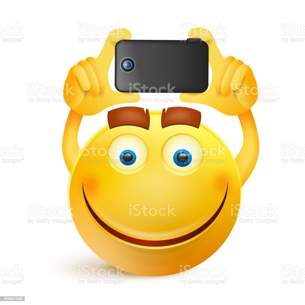 Yellow smiley face character with smart phone vector art illustration