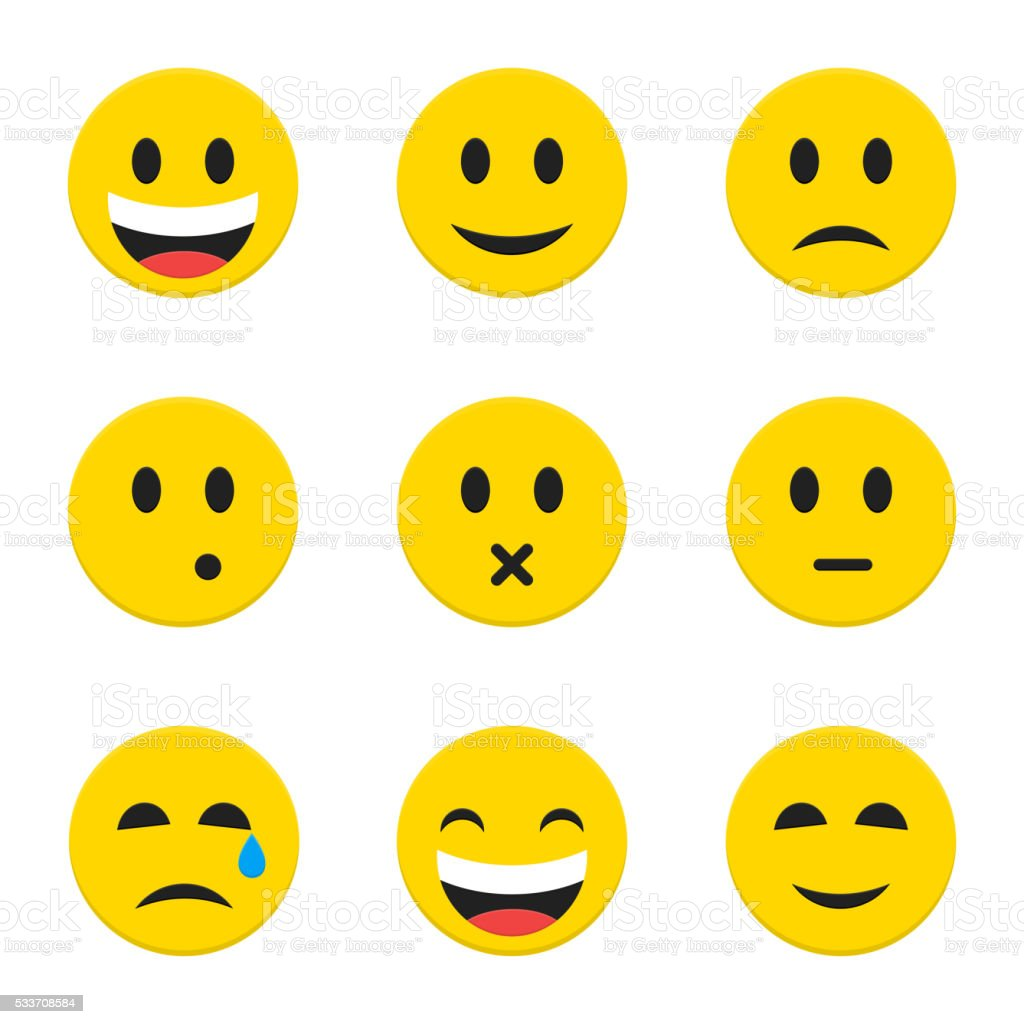 Yellow Smiley Faces over White vector art illustration