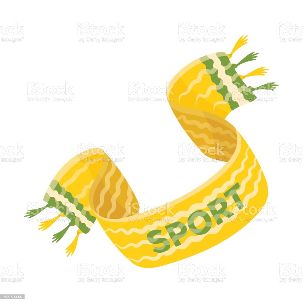 Yellow soccer fan scarf. Fans single icon in cartoon style vector symbol stock illustration. vector art illustration