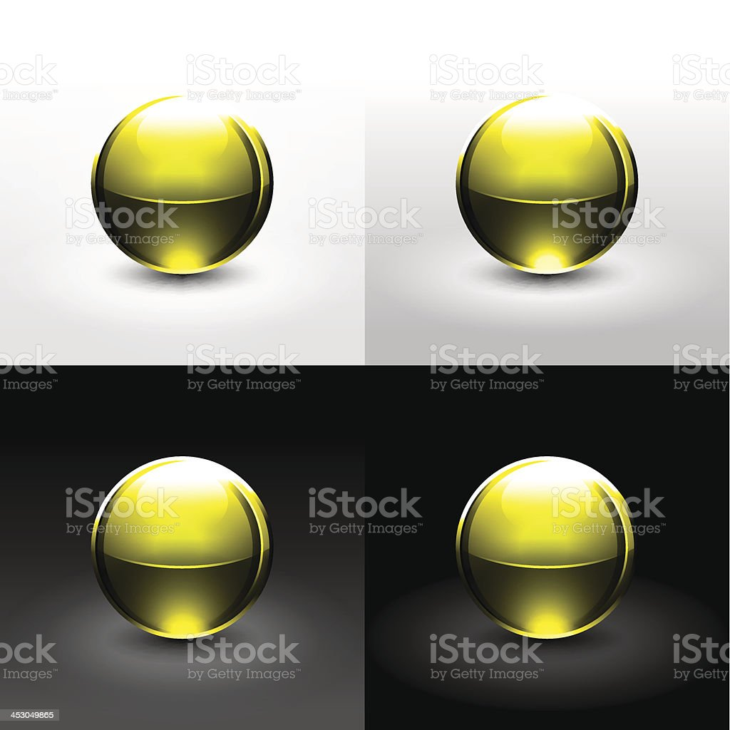 Yellow sphere glossy ball chrome icon web internet button royalty-free stock vector art