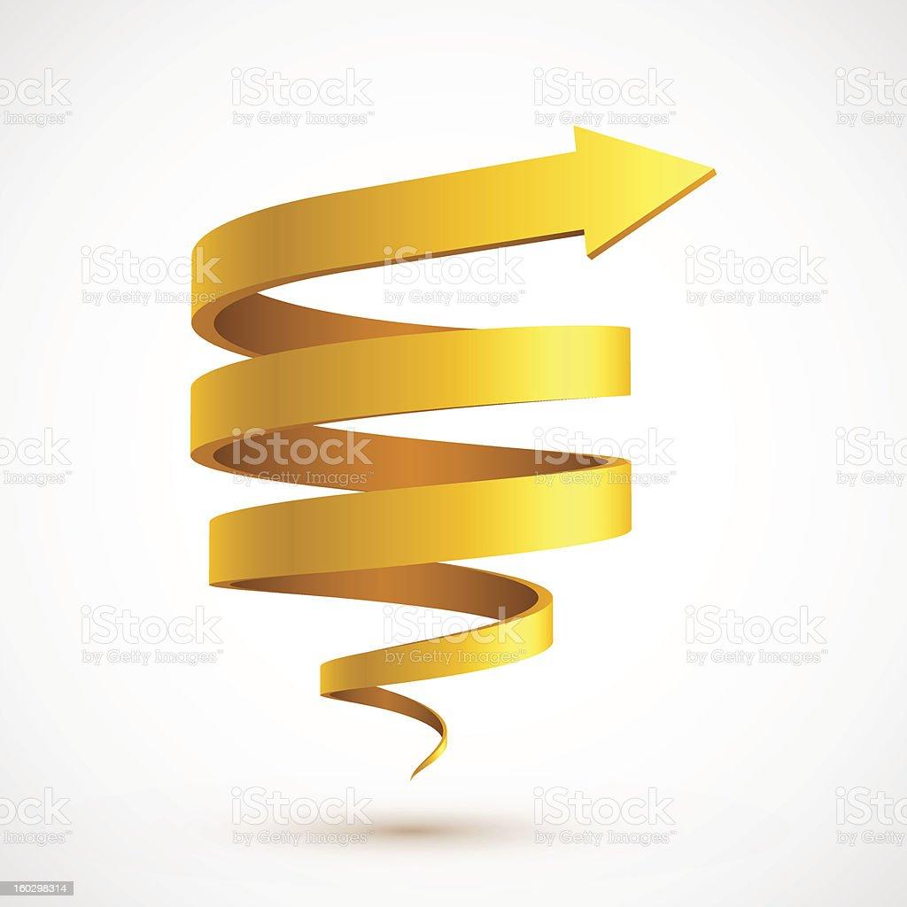 Yellow spiral arrow 3D vector art illustration