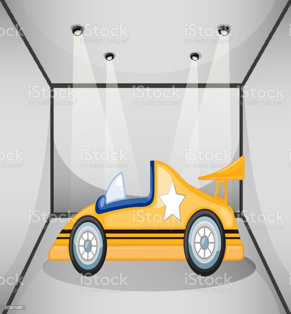 Yellow sports car inside the garage royalty-free stock vector art