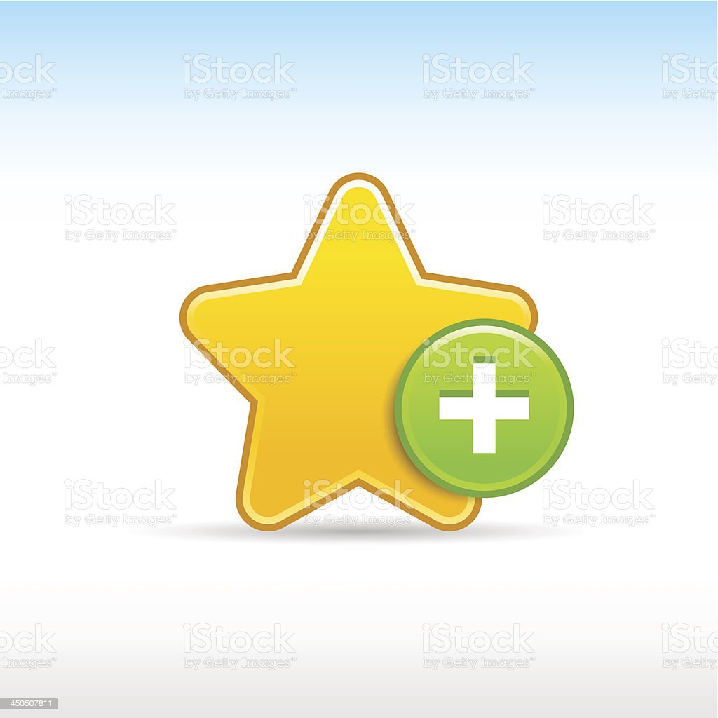 Yellow star sign plus icon circle web internet button royalty-free stock vector art