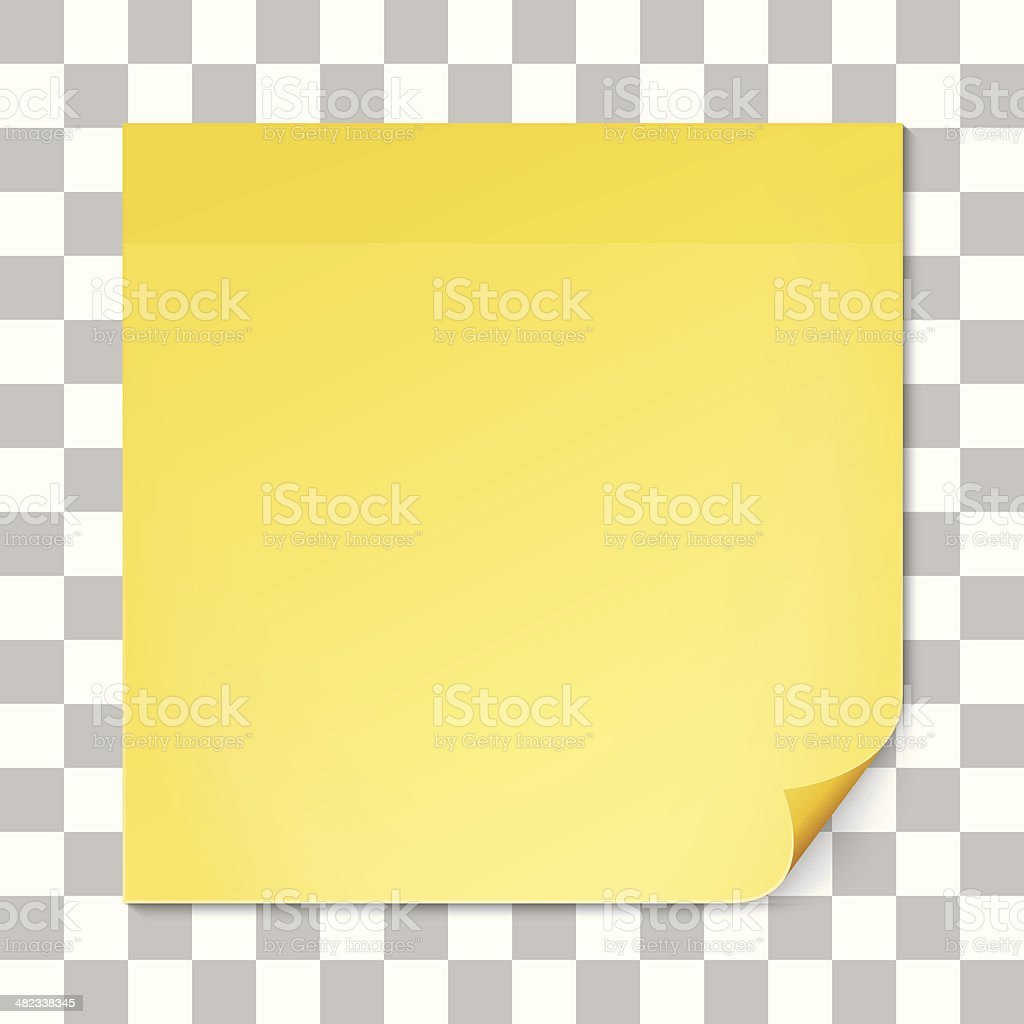 Yellow stick note on transparent texture backdrop vector art illustration