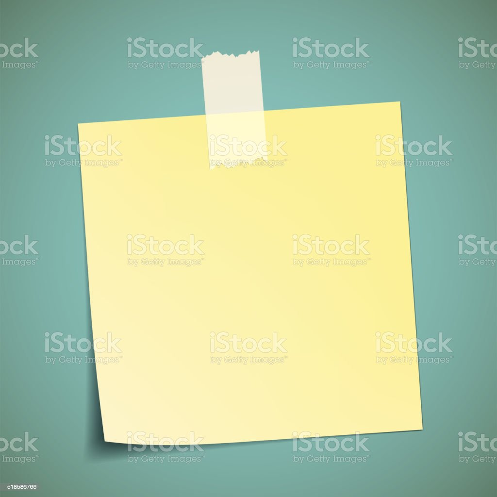 Yellow sticker pasted to the wall with adhesive tape. vector art illustration