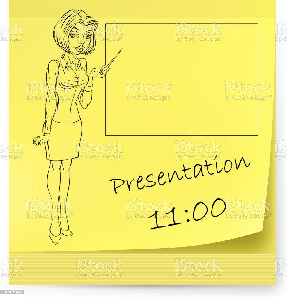 Yellow sticker with business woman royalty-free stock vector art