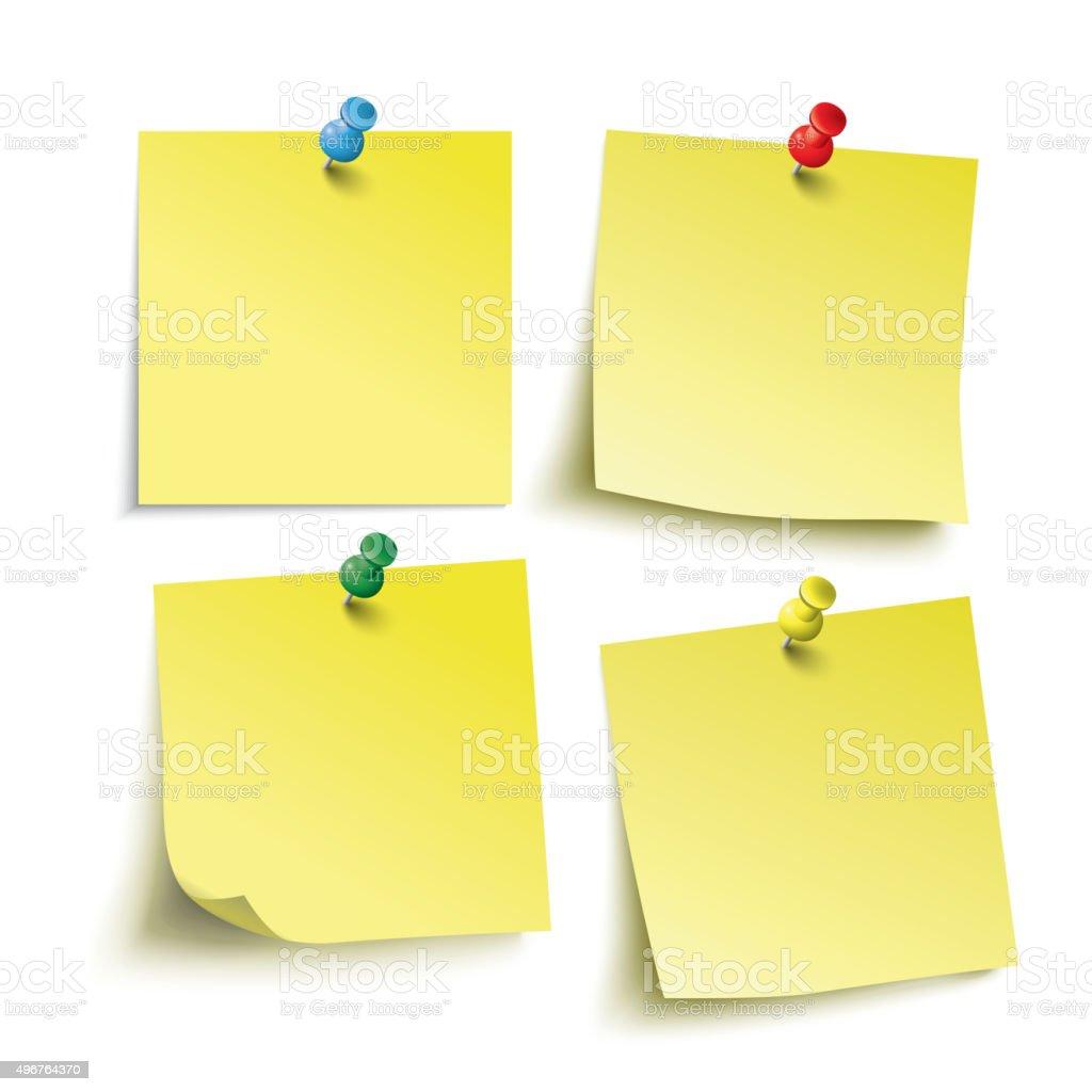 Yellow Sticks 4 Colored Pins vector art illustration