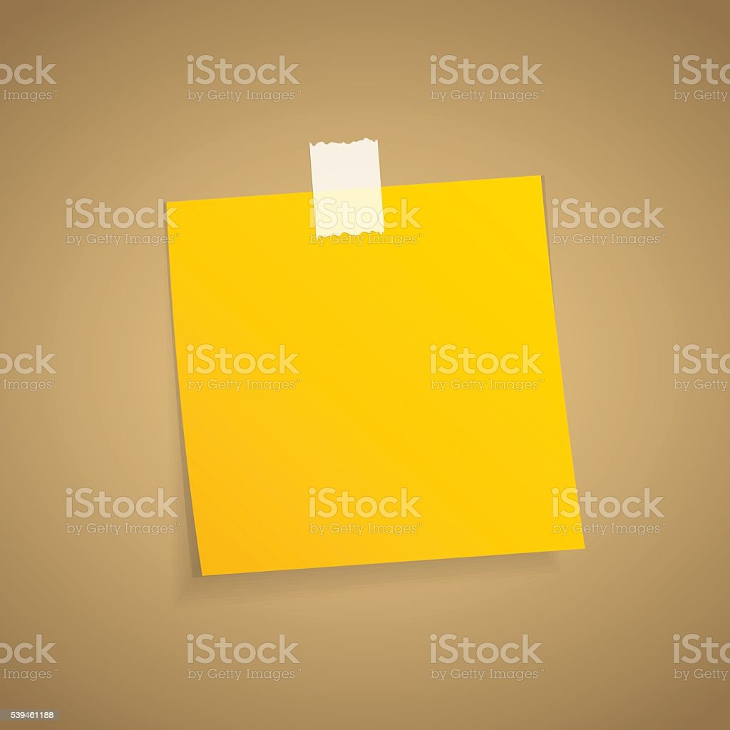 Yellow sticky note on an adhesive tape. vector art illustration