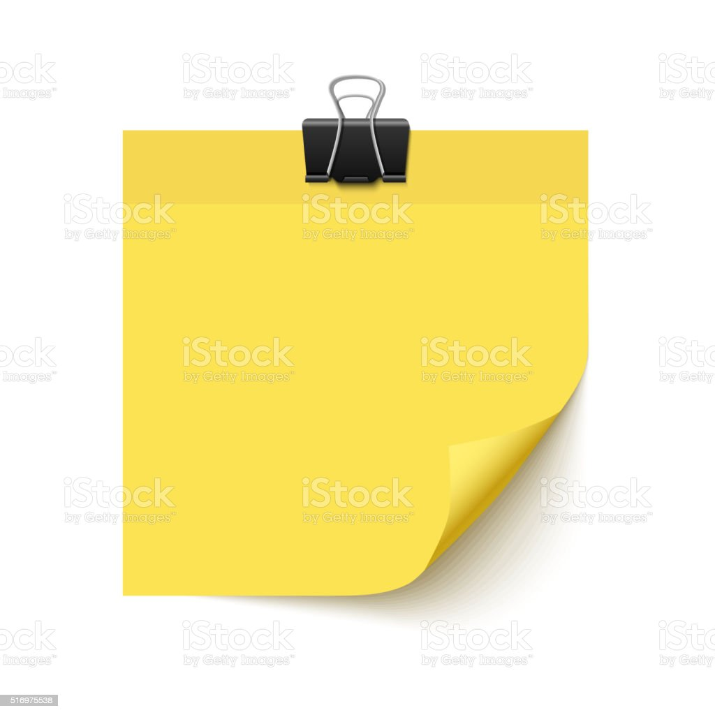 Yellow Sticky note paper vector art illustration