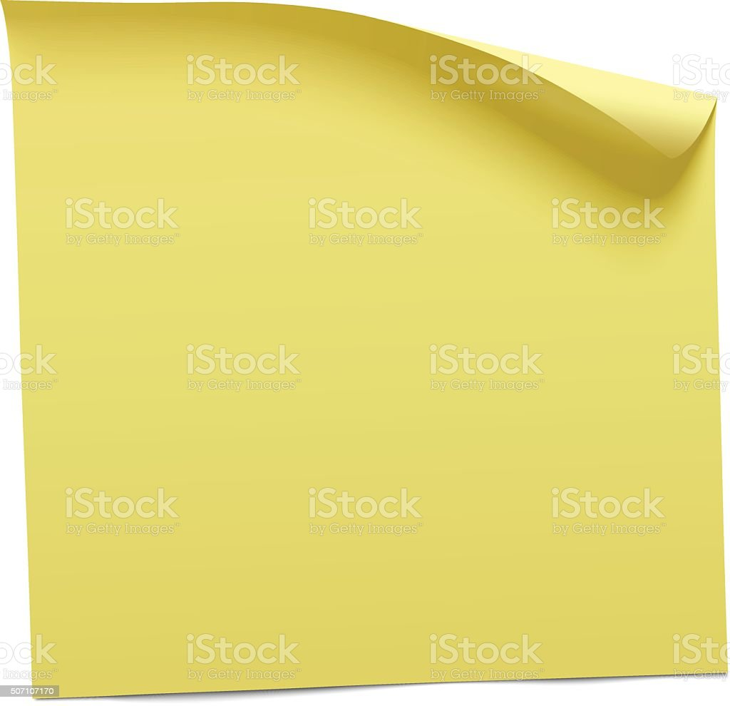 yellow sticky note vector vector art illustration