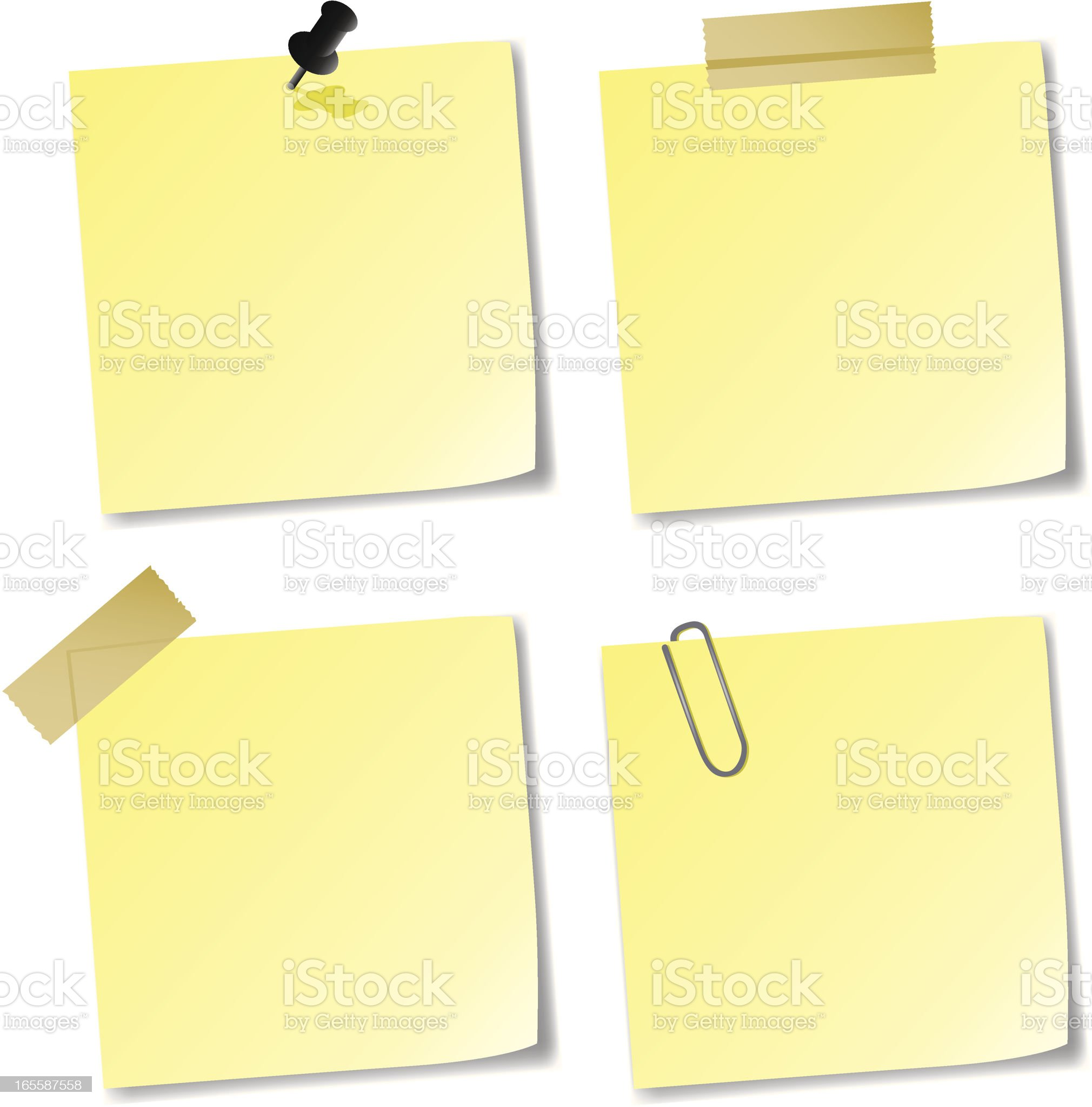 Yellow sticky notes royalty-free stock vector art