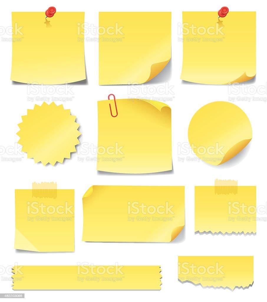 Yellow Sticky Notes vector art illustration