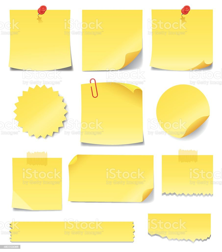 Yellow Sticky Notes vector art illustration
