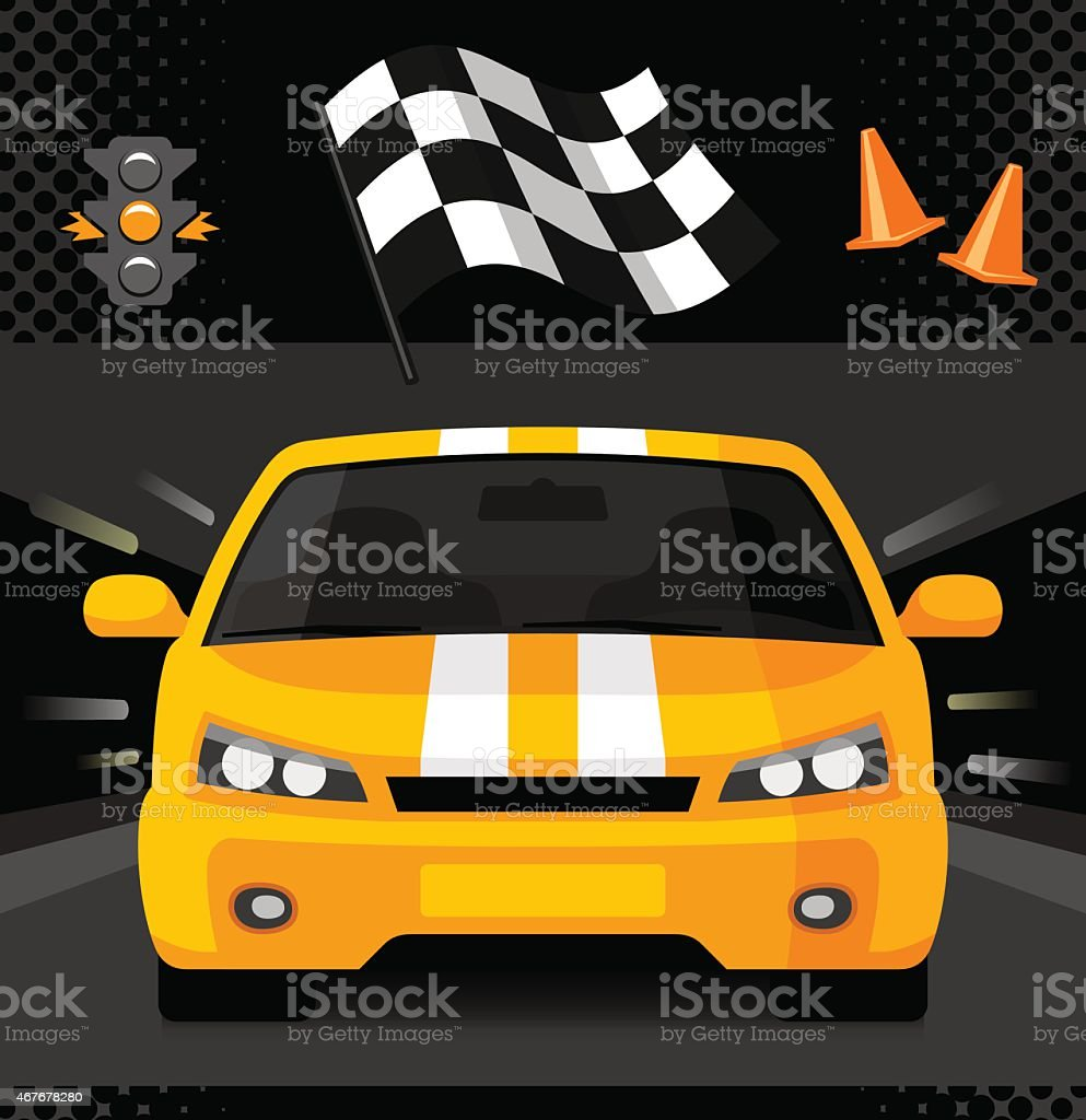 Yellow street racing car with sport checkered flag vector art illustration