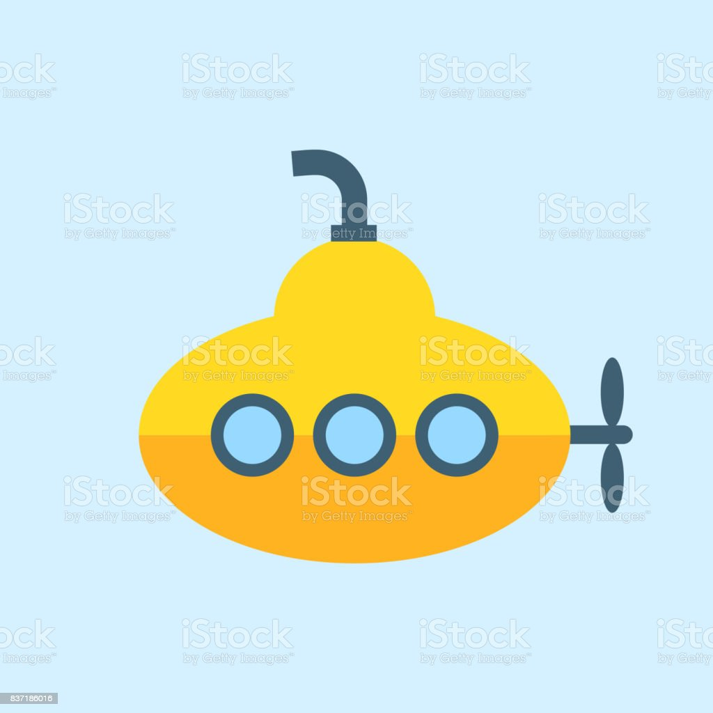 Yellow Submarine with periscope, Flat design. Vector vector art illustration