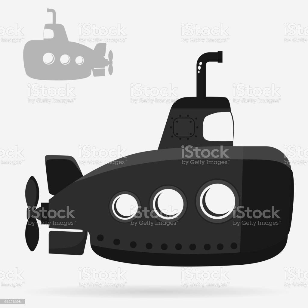 Yellow Submarine with periscope vector art illustration