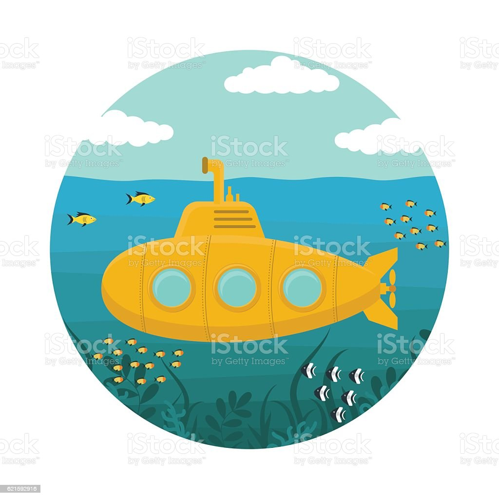 Yellow Submarine with Periscope. Vector vector art illustration