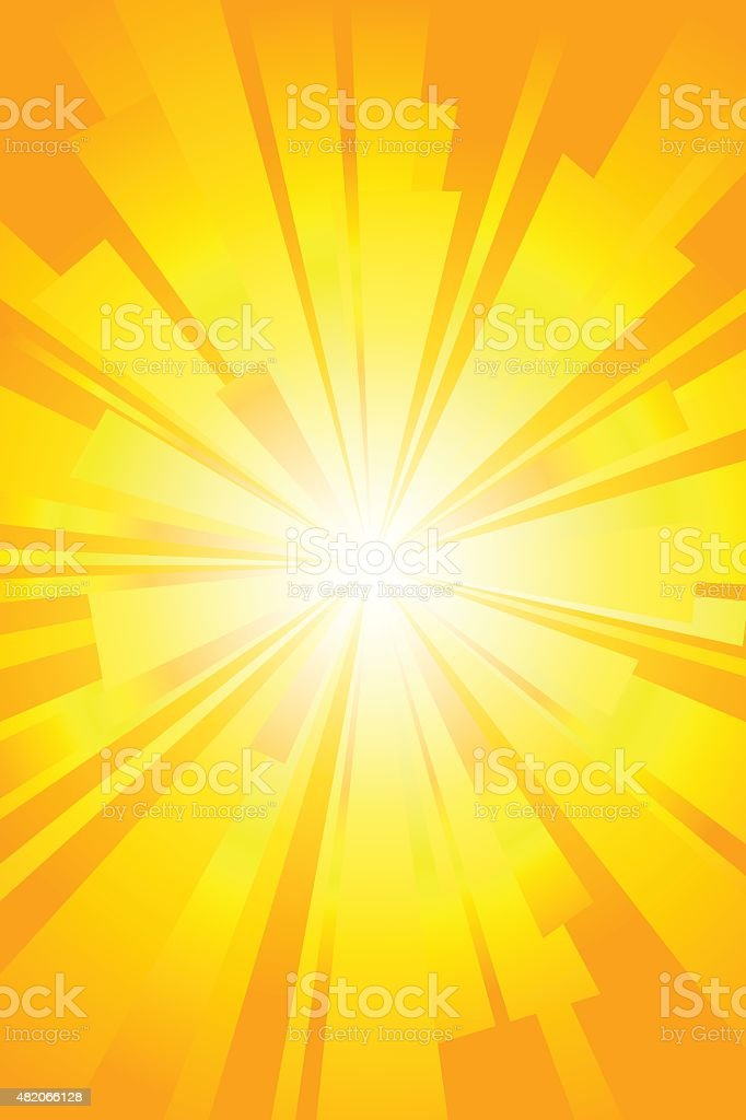 Yellow sun and flash vector background. vector art illustration