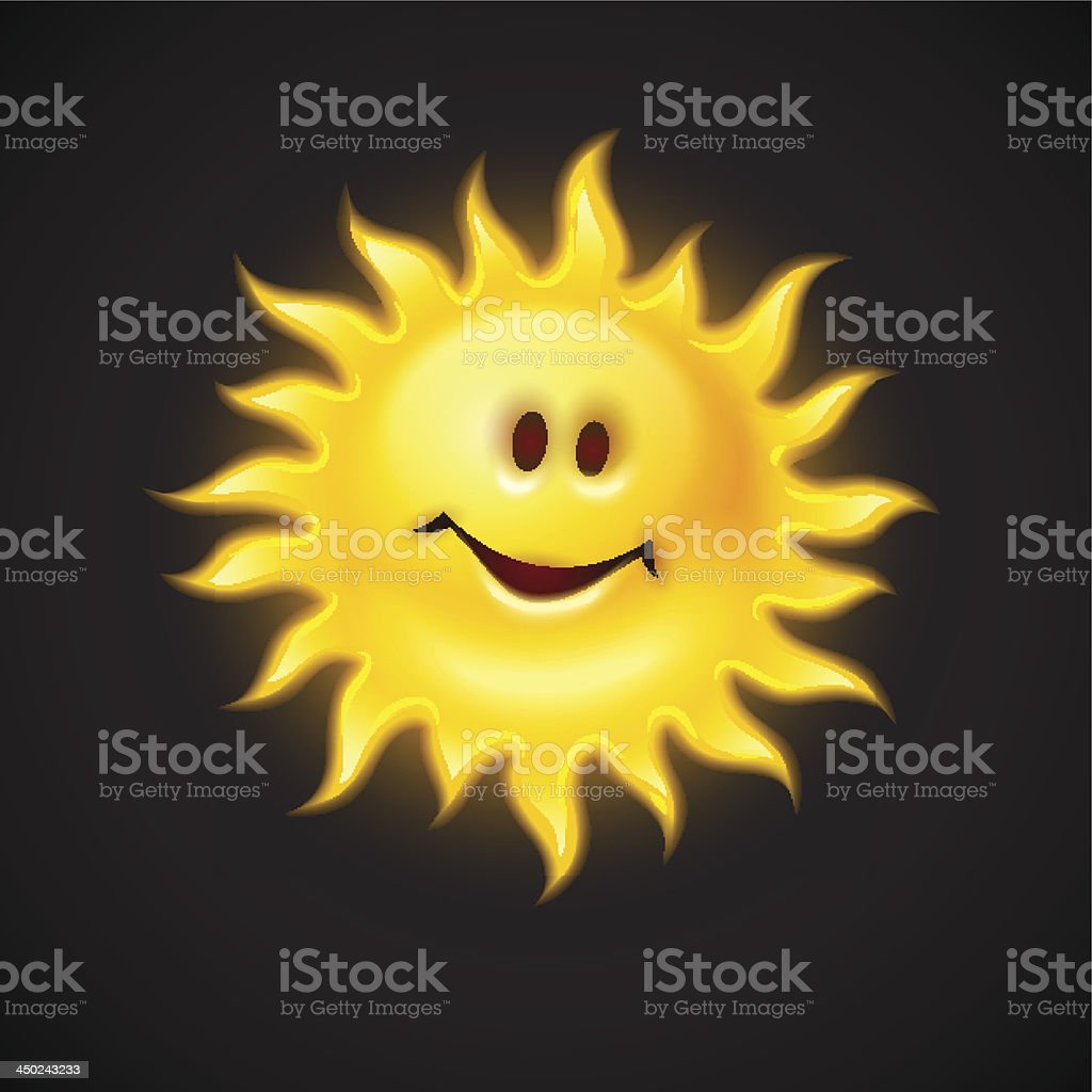 yellow sun with smiling face royalty-free stock vector art