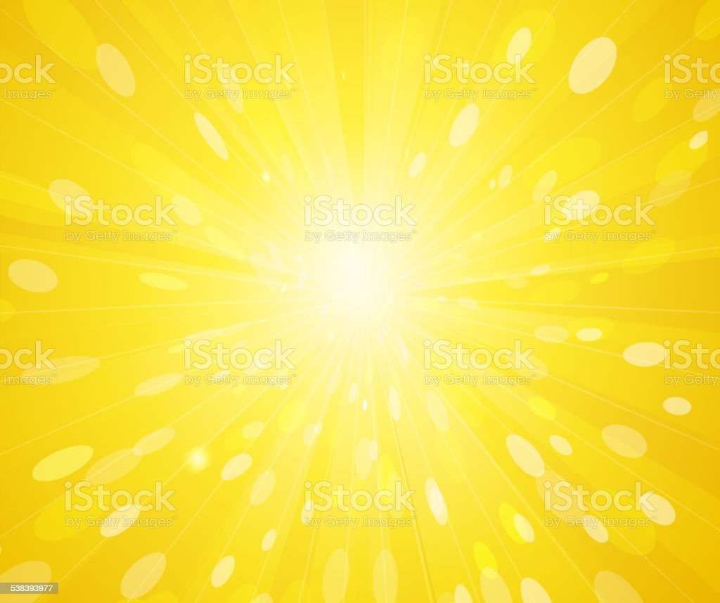 Yellow sunny rays background vector art illustration