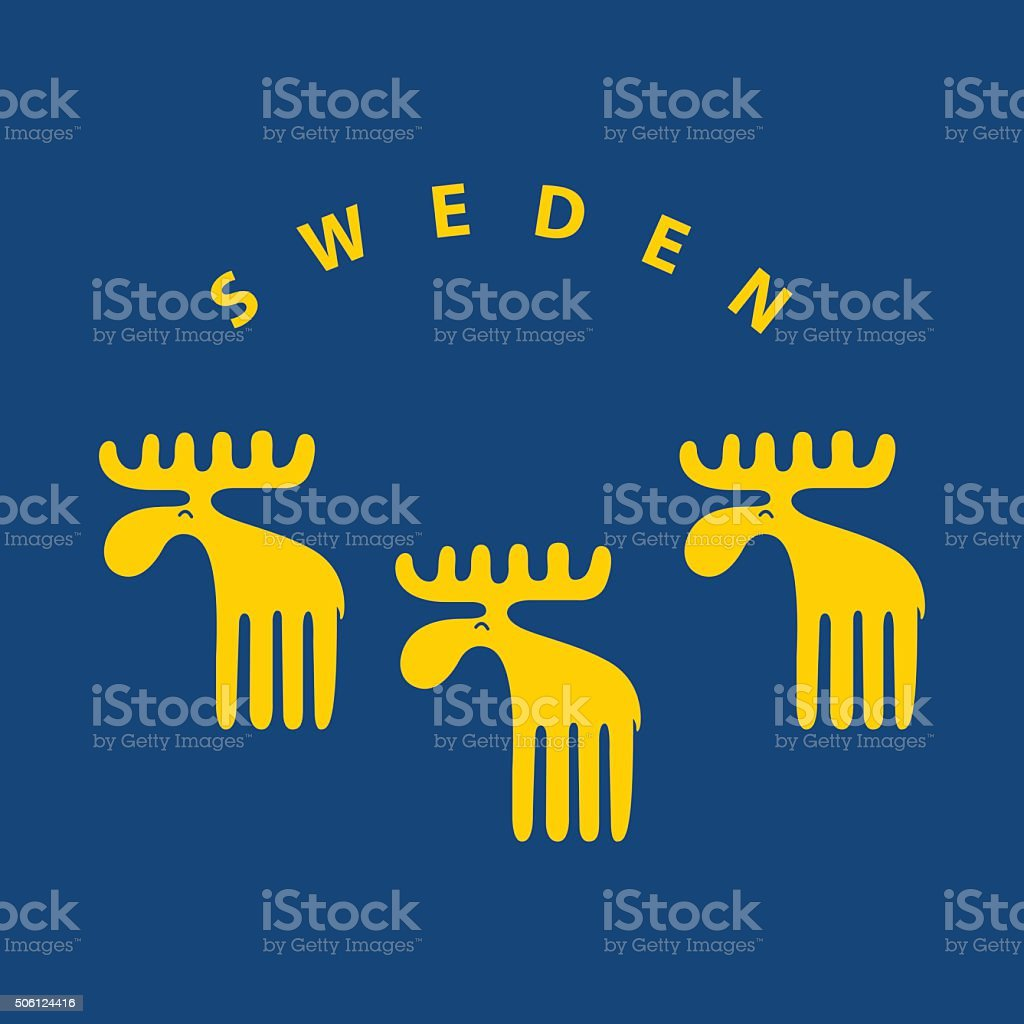 Yellow Swedish meese on blue background vector art illustration