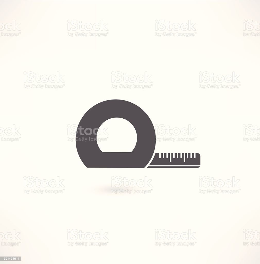 Yellow tape measure close up isolated on white background vector art illustration